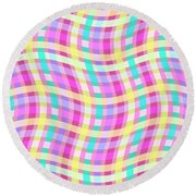 Multi Check Round Beach Towel