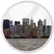 Multi Color Nyc Buildings Round Beach Towel