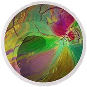 Multi Colored Rainbow Round Beach Towel by Deborah Benoit