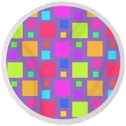 Multicoloured Squares Round Beach Towel by Louisa Knight