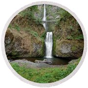 Multnomah Falls - Wide View Round Beach Towel