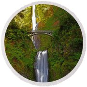 Multnomah Falls At Summer Solstice - Posterized Round Beach Towel