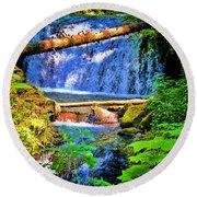 Multnomah Falls Oregon Round Beach Towel