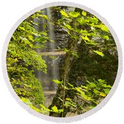 Munising Falls 4 Round Beach Towel