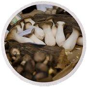 Mushrooms At The Market Round Beach Towel