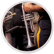 Music - Trumpet - Police Marching Band  Round Beach Towel by Mike Savad