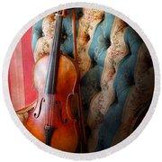 Music - Violin - Musical Elegance  Round Beach Towel