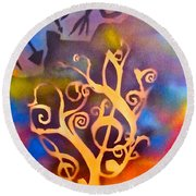 Musical Roots Round Beach Towel