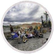 Musicians On The Charles Bridge - Prague Round Beach Towel