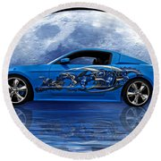 Mustang Reflection Round Beach Towel