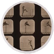 Muybridge Locomotion Of Man Jumping Round Beach Towel by Photo Researchers