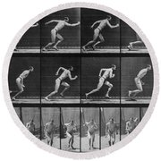 Muybridge Locomotion, Man Running, 1887 Round Beach Towel