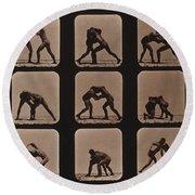 Muybridge Locomotion, Men Wrestling Round Beach Towel