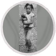 My Best Friend Round Beach Towel