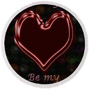 My Heart Is Yours Valentine Card Round Beach Towel