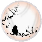 My Little Birdie Round Beach Towel