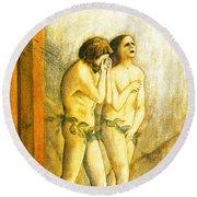 My Masaccio Expulsion Of Adam And Eve Round Beach Towel