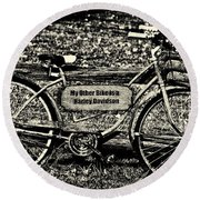 My Other Bike Is A Harley Davidson In Sepia Round Beach Towel