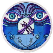 My Soulful Eyes Round Beach Towel