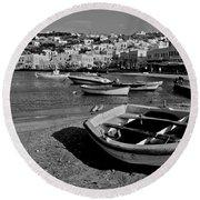 Mykonos Boats Round Beach Towel