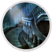 Mysterious Stairway In Old Mansion Round Beach Towel