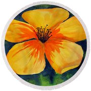 Mysterious Yellow Flower Round Beach Towel