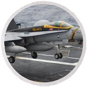 N Fa-18f Super Hornet Lands Aboard Round Beach Towel