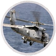 N Hh-60h Sea Hawk Helicopter In Flight Round Beach Towel