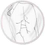 Naked-female-art-22 Round Beach Towel