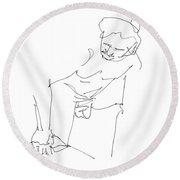 Naked-men-art-14 Round Beach Towel