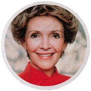 Nancy Reagan, 40th First Lady Round Beach Towel by Photo Researchers