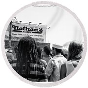 Nathan's Crowd In Coney Island 2 Round Beach Towel