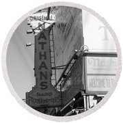 Nathan's Famous At Coney Island In Black And White Round Beach Towel