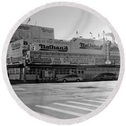 Nathan's Original In Black And White Round Beach Towel