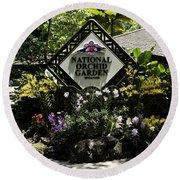 National Orchid Garden Inside The Singapore Botanic Garden Round Beach Towel
