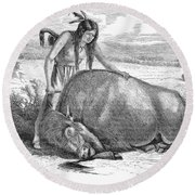 Native Amerians: Cutting Buffalo Round Beach Towel