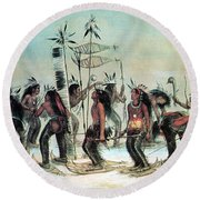 Native American Indian Snow-shoe Dance Round Beach Towel