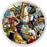 Native American Indians Vs American Soldiers Round Beach Towel
