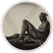 Native American Statue - Eakins Oval Philadelphia Round Beach Towel