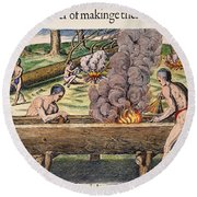 Native Americans: Canoe, 1590 Round Beach Towel
