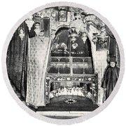 Nativity Grotto In 18th Century Round Beach Towel
