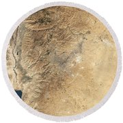 Natural-color Satellite View Of Amman Round Beach Towel