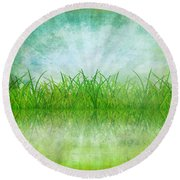 Nature And Grass On Paper Round Beach Towel by Setsiri Silapasuwanchai