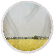 Nature Painting On Old Grunge Paper Round Beach Towel