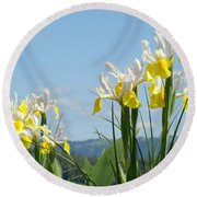 Nature Photography Irises Art Prints Round Beach Towel
