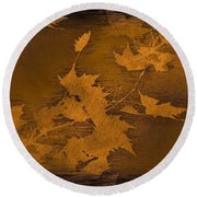 Natures Gold Leaf Round Beach Towel