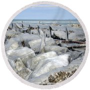 Natures Ice Sculptures 9 Round Beach Towel