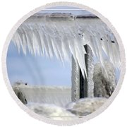Natures Ice Sculptures1 Round Beach Towel