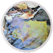Nature's Leaf Collage Round Beach Towel