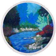 Natures Red White And Blue Round Beach Towel